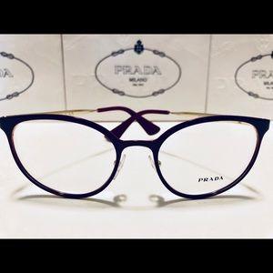 Prada Eyeglasses Burgundy on Pale Gold 52mm New